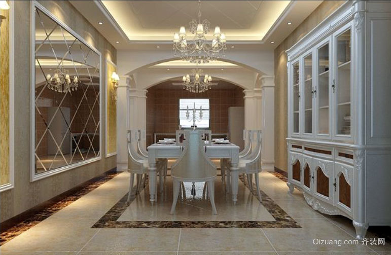两室一厅简欧风格时尚餐厅背景墙装修效果图