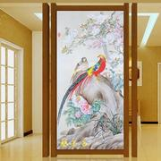 花鸟画玻璃隔断墙效果图