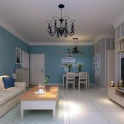 客厅蓝色沙发背景墙