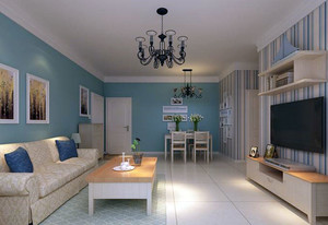 90平米安宁静谧的地中海风格客厅装修效果图