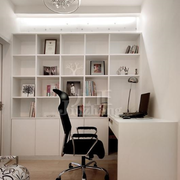 白色时尚书柜设计图