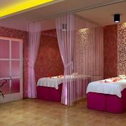 美容院粉色门帘设计