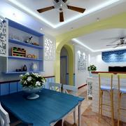蓝色时尚的餐厅