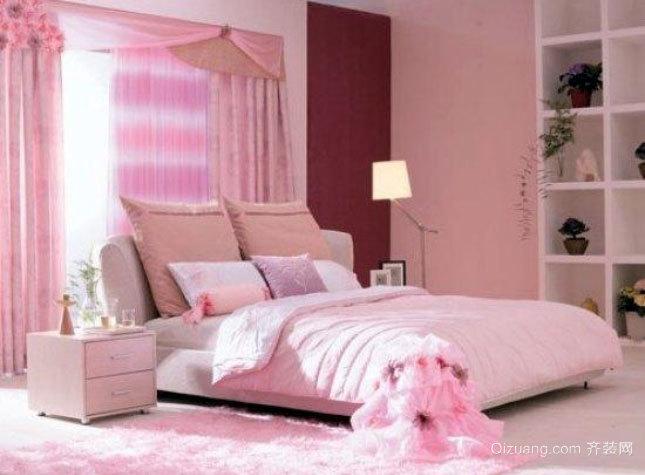两室一厅现代简约粉色婚房装修效果图