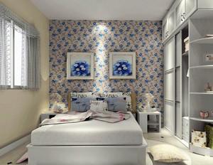 清新干净韩式田园风格小卧室壁纸装修效果图