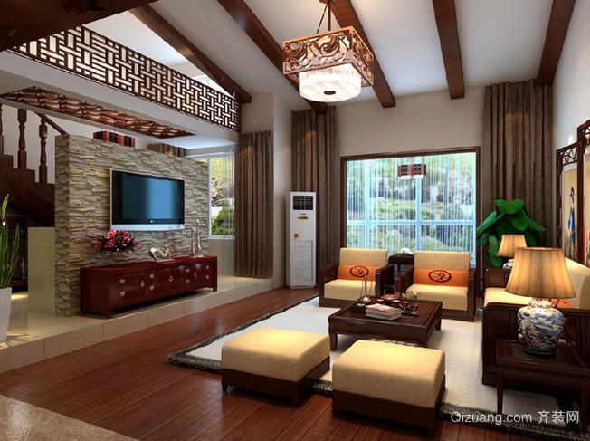 精致气派的中式别墅客厅电视背景墙装修图片鉴赏