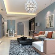 客厅灰色时尚地毯