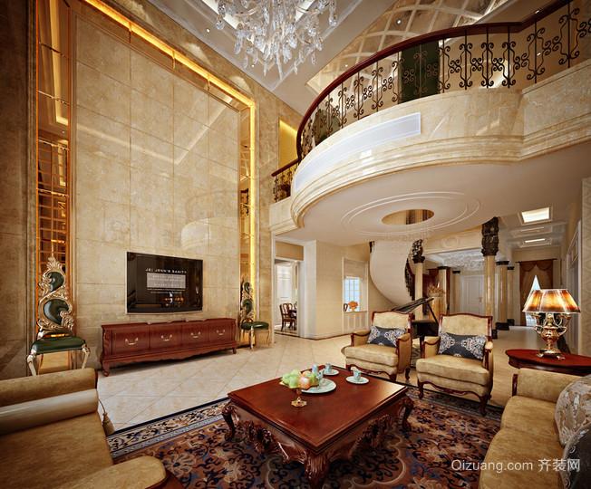 雍容华贵的欧式别墅客厅电视背景墙装修图片鉴赏