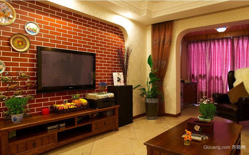 2015东南亚流行客厅电视背景墙效果图
