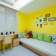 儿童房靓丽黄色背景墙