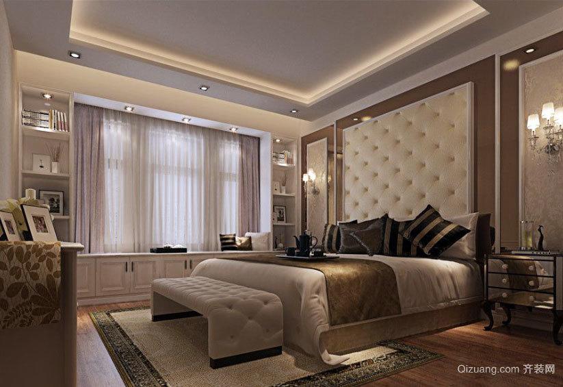 两室一厅简欧风格精美卧室吊顶装修效果图