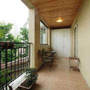 别墅阳台自然木吊顶