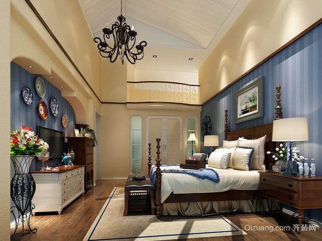 30平米浪漫蓝色纯正地中海风格卧室装修效果图