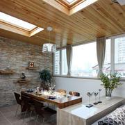 阳光房自然木吊顶