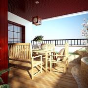 露台原木色餐桌椅