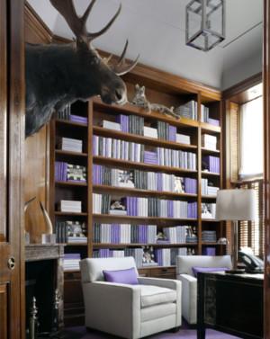 舒适大书房紫色书架