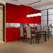 家装餐厅红色背景墙