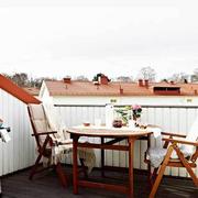 露台白色实木护栏