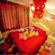婚房卧室气球摆放