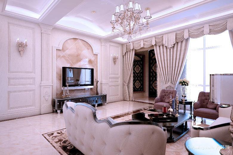 100平米奢华气质简欧风格客厅装修效果图