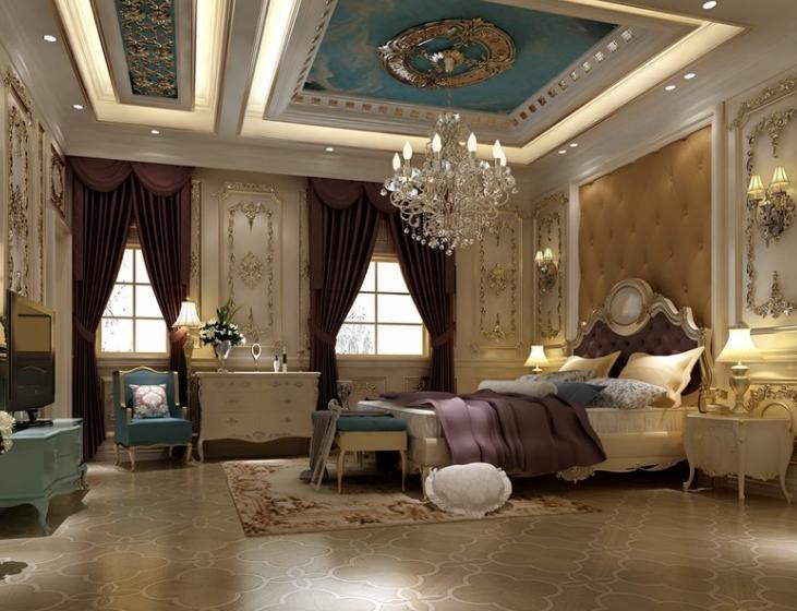 200平米超大 奢华法式 卧室软装 装修设计 效果图