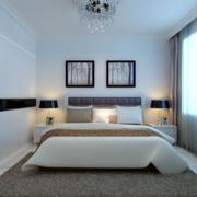 白色时尚的公寓卧室