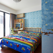 简单蓝色的儿童房
