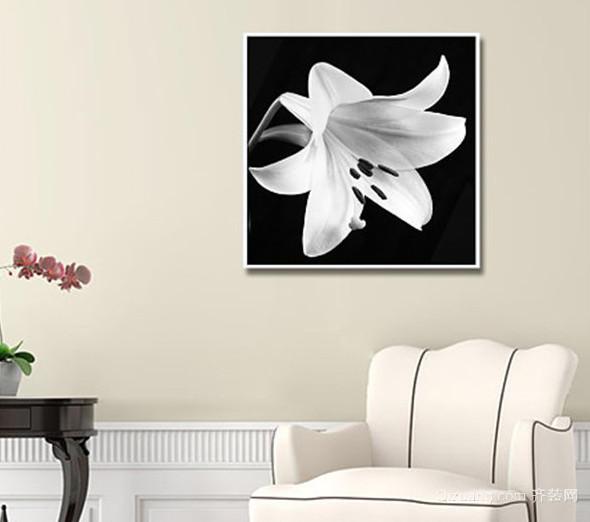 2015现代客厅黑白素描装饰画装修效果图