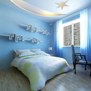 浅蓝色的卧室置物架