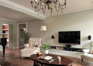 90平米美式田园客厅电视背景墙装修效果图