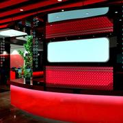 红色靓丽的吧台