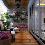 别墅阳台自然木地板