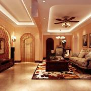 暖色调的客厅背景墙