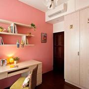 儿童房粉色墙面置物架