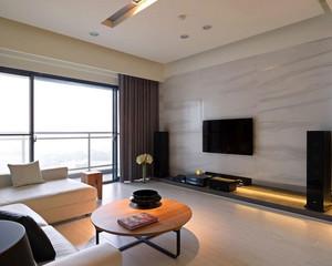大户型璀璨耀人的现代客厅瓷砖背景墙装修效果图