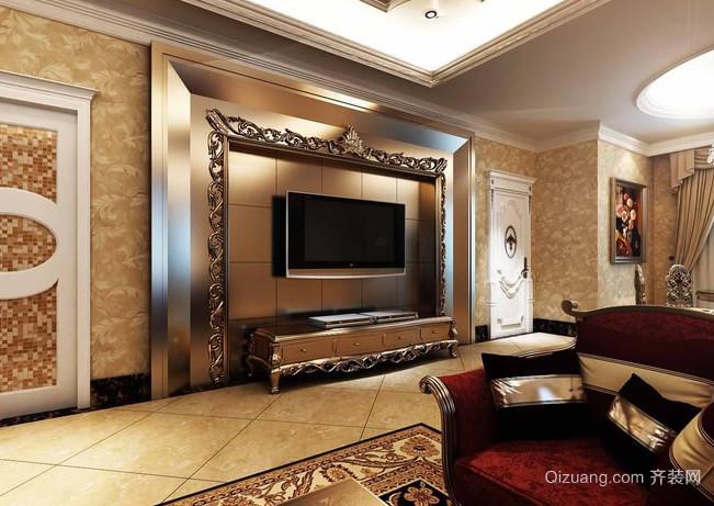 金碧辉煌的法式风格别墅客厅电视背景墙装修图片