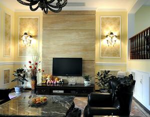 客厅原木色背景墙