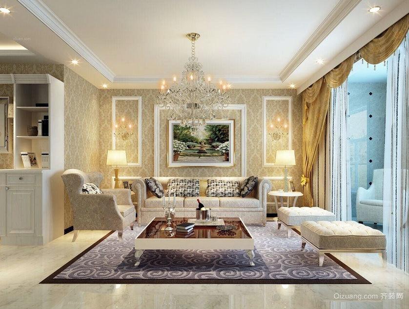 2015光辉明亮的现代客厅欧式沙发背景墙效果图鉴赏