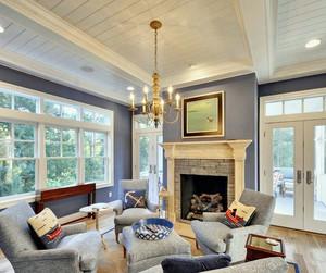 客厅白色实木吊顶
