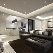 单身公寓小客厅黑色地毯
