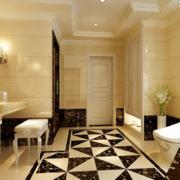 别墅卫生间地面瓷砖图案