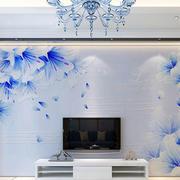 蓝白色电视背景墙