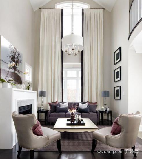 触动人心的跃层客厅挑高窗帘装修效果图