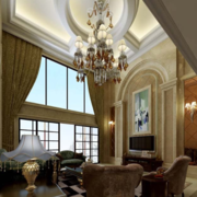豪华客厅挑高窗帘