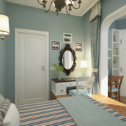 浅蓝色的卧室隐形门