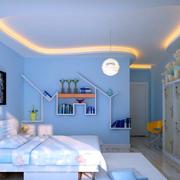 别墅蓝色温馨儿童房