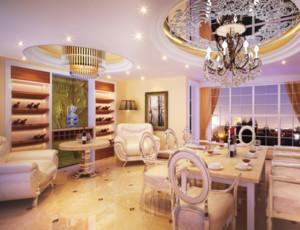 现代家居餐厅水晶灯装修效果图