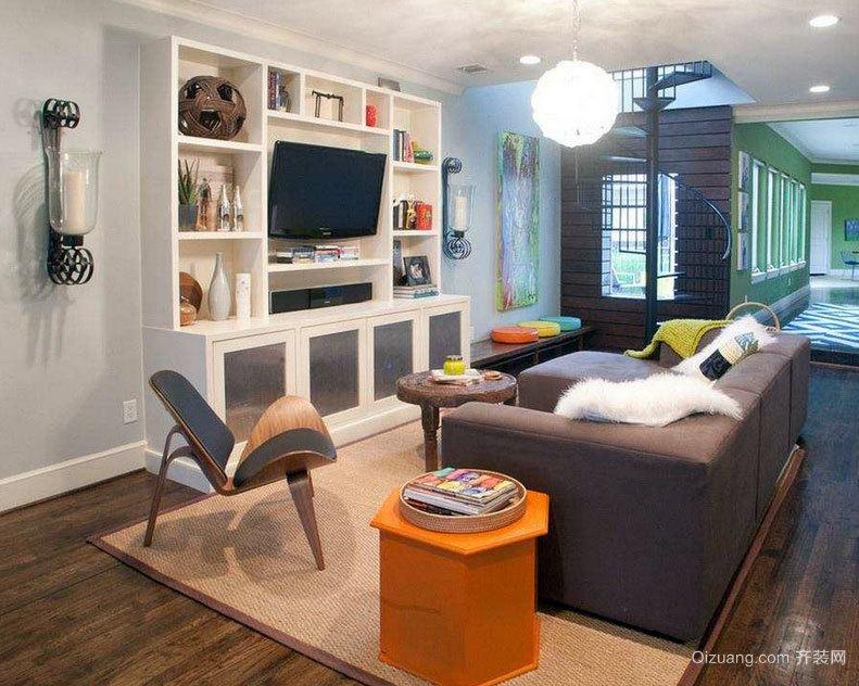 单身公寓气氛优雅的现代欧式客厅电视柜效果图