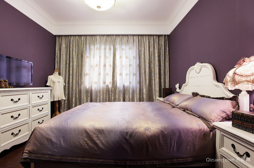 神秘紫色卧室装修效果图