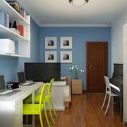 书房蓝色墙面欣赏